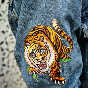 Denim jacket with patches size S